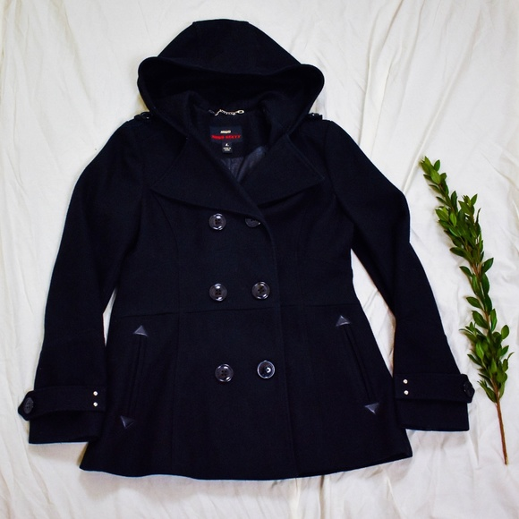 Miss Sixty Jackets & Blazers - Miss Sixty M60 Black Wool Hooded Pea Coat G02